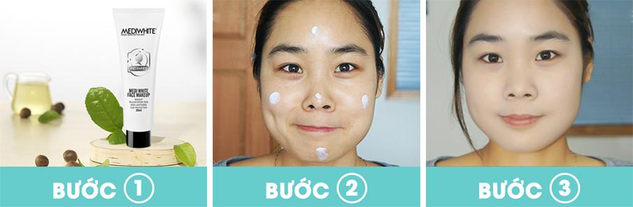 Cách sử dụng Kem trang điểm chống nắng da mặt Medi White Face Makeup