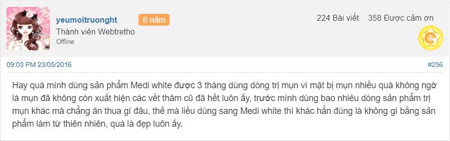 Review kem trị mụn Medi White webthetro