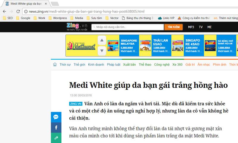 Theo News.zing.vn: Medi White giúp da bạn gái trắng hồng hào