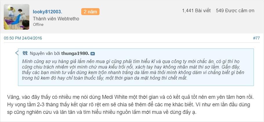 Kem Medi White có tốt không