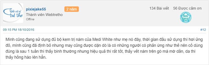 Review kem trị nám Medi White Melasma webtretho